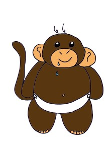 how to draw a simple monkey