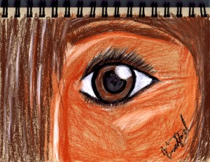 eye sketch on toned paper