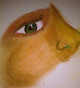Example of painting a warm skin tone with pastels.