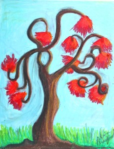 The Lorax Tree, Oil Pastel Painting by Alina Bradford.