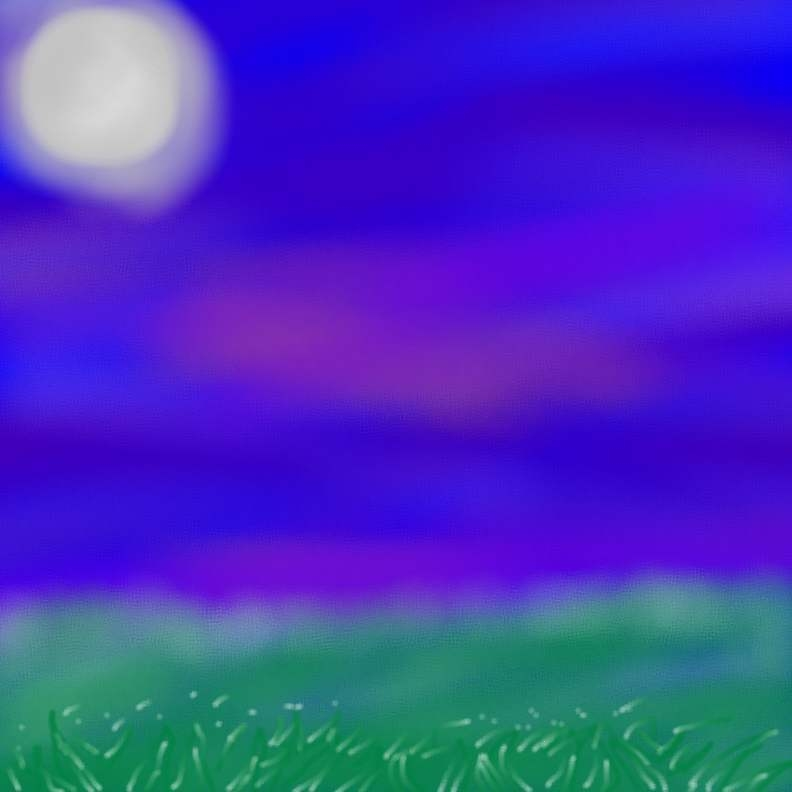 Night Sky with Grass and Moon