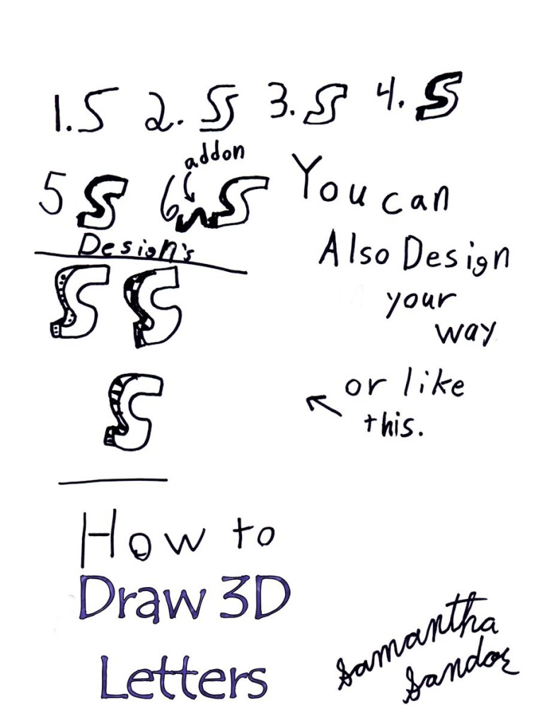 How to draw 3d letters 1