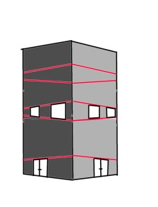 drawing windows in a house in perspective